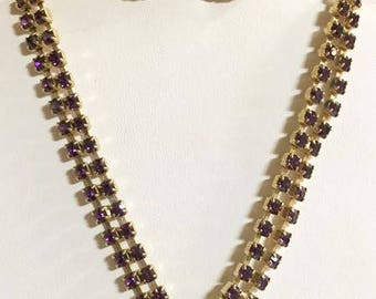 Vintage Purple Rhinestone Lariat Necklace and Earrings Set