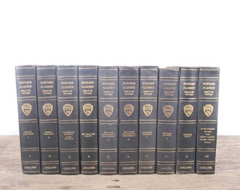 1917 Harvard Classics Book Set / Volumes 1-10 / Collier & Son / Old Antique Black Books / Antique History Books / Old Books Vintage Books