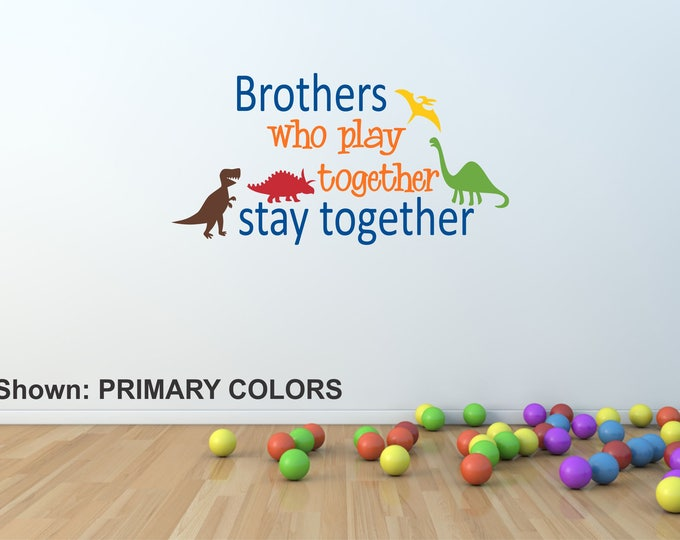 Brothers Boys Name Wall Decal // Primary Color Boy Nursery // Boys Decor // Customized Decal // Children's Wall Decor // Brothers Sign