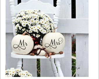 Mr and Mrs Pumpkin Decals Small Decals Set of Two Wedding Decals DIY Wedding Decor Fall Wedding Decor Fall Decor Mr Decal Mrs Decal Pumpkin