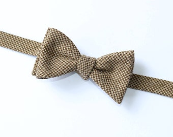 Houndstooth Wool Bow Tie~Brown & Tan Houndstooth Bow Tie~Mens Self Tie Bow Tie~Mens Pre-Tied~Anniversary Gift~HoBo Tie~Wedding~Wool Bow Tie~
