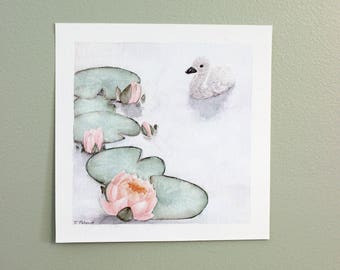 Ugly Duckling limited edition Giclee print. Swan, Cygnet, fairytale or fable theme watercolor.  Sweet and elegant.