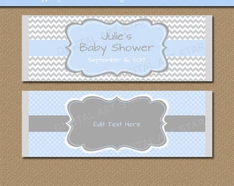 Downloadable Chocolate Favors, Candy Wrappers, Its a Boy Baby Shower Decor, Printable Its a Boy Party Favors, Baby Blue and Gray Chevron BB1