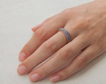 Ceylon Sapphire Ring Eternity Band Size 6.5 53, 18k Rose Gold Sapphire Band, Anniversary Ring Women, Blue Saphire Wedding Band