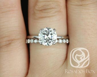 Rosados Box Sandra 8mm & Petite Naomi 14kt White Gold Round F1- Moissanite and Diamond Non-Cathedral Wedding Set