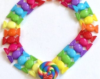 Colorful Candy and Rainbow Lollipop Stretch Choker