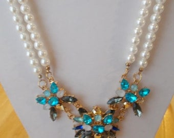 2 Row White Sea Shell Pearl Necklace with Shades of Blue and White Crystal Flower Pendants