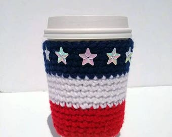Stars and Stripes Coffee Cozy, American Flag Coffee Sleeve, Crochet Coffee Cozy