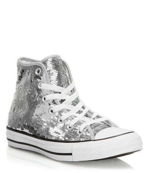 Silver Sequins Converse High Top Holiday Glitter Bling Gray Custom w/ Swarovski Crystal Rhinestone Chuck Taylor Kicks All Star Sneaker Shoes