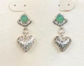Green Gem Stud Earrings w Fine Silver Heart Dangles, Gemstone Earrings, Textured Silver Heart Earrings, Dangle Earrings Chrysoprase Earrings