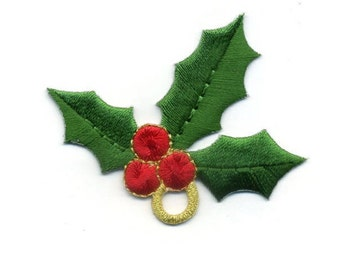 """Christmas - Christmas Holly - Embroidered Iron On Applique Patch - 2.5"""" Version"""
