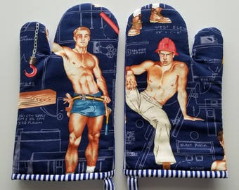 Muscle Men Oven Mitt, Carpenter Kitchen Mitt, Buff, Cook, Bake, Chef Mitt
