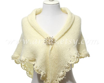Wedding Shawl, Bridal Shawl, Bridal Wedding Shawl, Ivory Shawl, Hand Knit Crochet Shawl, Wedding Capelet, Bridesmaid Shawl, Gift Ideas