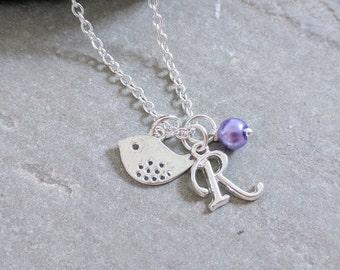 Bridesmaid Necklaces, Bird Necklace, Initial Necklace, Bridesmaid Jewellery, Personalised Initial Necklace, Bird Charm Necklace