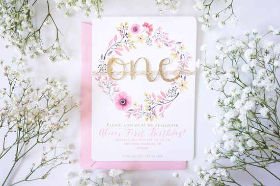 Floral wreath first birthday invitations for girl pink and gold il570xn filmwisefo