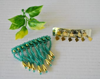 Fancy Vintage Hair Barrette Clip Destash Lot of 2, Gold and Green Beaded Hair Clamp Barrette Accessory