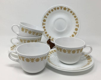 Butterfly Gold Cups & Saucers, 4 Sets, Corelle Butterfly Gold Cups, Corelle Butterfly Gold Saucers, Corning Tea Cups, Vintage 1970s