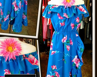 Vintage Blue Pink Floral Hawaii Ruffle Dress FREE SHIPPING