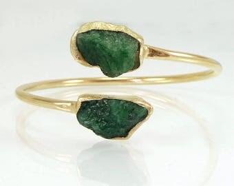 Raw Emerald Bangle, Emerald Bracelet, Emerald Cuff Bracelet,Statement Gold Cuff, May Birthstone Cuff,Open Double Gemstone Bangle,Gold Bangle