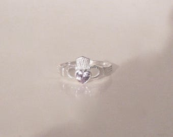 Heart Ring Sterling Silver, 925, Crystal Claddagh Ring, Heart & Hands Ring, Heart Ring Size 8.75 9, Handmade, Faceted Crystal Heart Ring