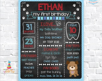 Puppy Printable Chalkboard Sign - Milestone Poster - Instantly Download and Edit at Home with Adobe Reader - 1st 2nd 3rd Birthday