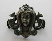 Antique Art Nouveau Silver Austro-Hungry Lady Pin