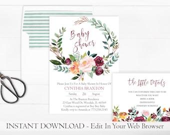 Printable Wreath Baby Shower Invitation Template | Floral Baby Shower Invitation | INSTANT DOWNLOAD | Rustic | Fall | Leaf Baby Shower PDF