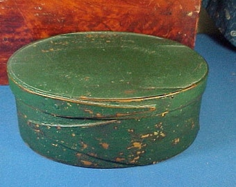 Antique Wooden Pantry Box,  Painted Oval Fingered, Green Paint, Primitive, Small Size