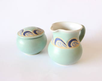 Stoneware Cream and Sugar Bowls Studio Pottery Hand Thrown Vintage 70's Boho Home Decor Bohemian Kitchen