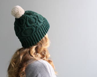 """READY to SHIP - Wool & Acrylic Hat / Big Yarn Pom Pom / Slouchy Beanie / Evergreen - Linen -  """"Lauren Hat""""  / Forest Green with White Pom"""