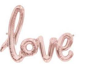 "Balloon in Rose Gold - ""Love"" script"