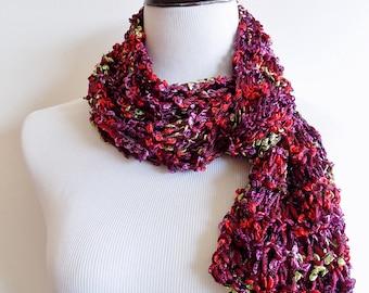 Knit Scarf - Lightweight Ribbon Scarf - Burgundy Fashion Scarf - Multistrand Year Round Airy Knit Scarf - Burgundy Purple Green Red