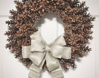 Rustic all natural pinecone wreath