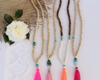 Long Pink beaded tassel necklace - 4 choices - neon pink, mixed colors, neon coral , raspbery tassel - Bright new penny favorites