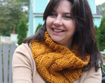 "Cabled Cowl, Mustard ""The Emma"""
