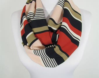 Striped Scarf Infinity Scarf Circle Scarf Loop Spring Fall Winter Scarf Women Fashion Accessories Gift For Women 86