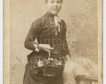 CDV Photo Victorian Young Pretty Girl Holding Basket of Flowers Hair Up by Prewett, Basingstoke England - Carte de Visite Antique Photograph