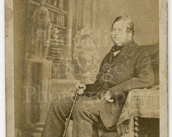 CDV Photo Victorian Old Man Seated Holding Cane Identified by Clarkington & Co. of London England - Carte de Visite Antique Photograph