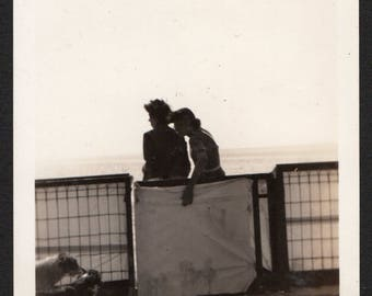 Vintage Snapshot Photo Two Women in Silhouette Talking Close at Long Beach 1930's, Original Found Photo, Vernacular Photography