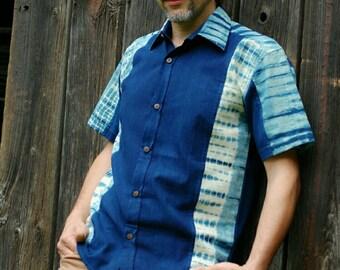 Zendigo* (I) natural indigo shibori dyed eco friendly sustainable handloom cotton shirt  for earth conscious men.