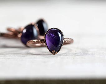 Amethyst Ring Electroformed Copper Ring Polished Cabochon Ring Aquarius Stone Purple Stone Delicate Ring Februrary Birthstone