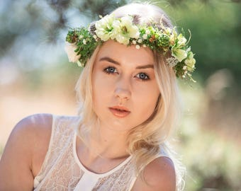 SALE Green Wedding Flower Hair Crown, with Ferns, Ivory Roses and Babies Breath, Preserved Thistles, Green Apple Blossoms and Fritillaria