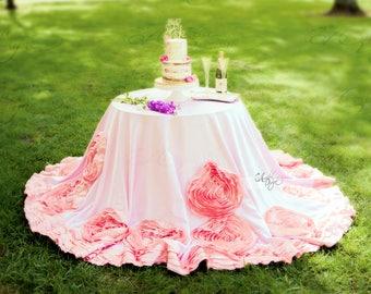 Rosette Tablecloth | Romantic Taffeta Satin Rose Tablecloth for Wedding Head Table Cake Table Bridal Baby Shower Girl's Princess Birthday