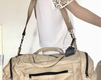 Tan Leather Duffle Bag, Shoulder Bag, Travel Bag