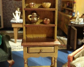 Dollhouse miniature hutch with accessories