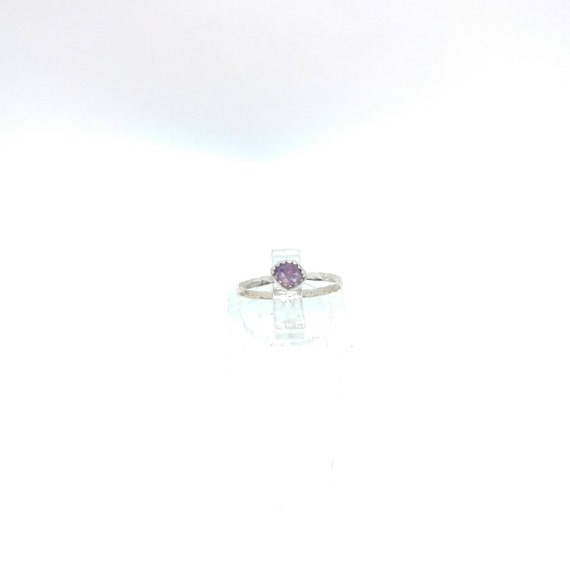 Purple Sapphire Stacking Ring   Sterling Silver Ring Sz 5   Raw Sapphire Ring   Raw Crystal Stackable Ring   Purple Sapphire Stacker Ring