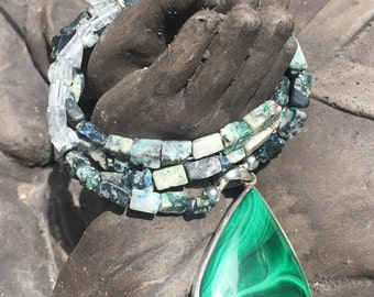 Malachite Azurite Clear Quartz Necklace