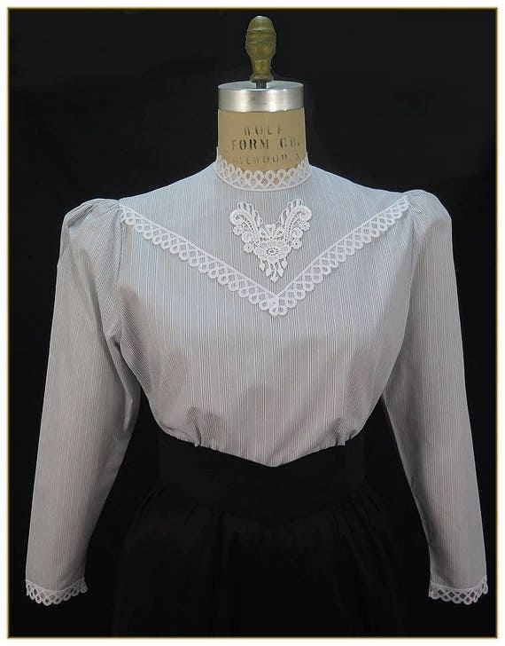 Edwardian Blouses | White & Black Lace Blouses & Sweaters Blue Gray Stripe BlouseBlue Gray Stripe Blouse $39.00 AT vintagedancer.com
