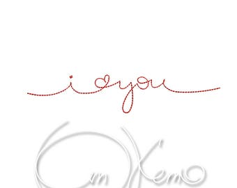 MACHINE EMBROIDERY FILE - I love you