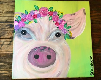 Penelope the Pig- Pig Painting- Farmhouse Decor- Flowercrown Pig- Acrylic Painting- Rustic Decor- Farm Animal Art- Pig Art- Pink Pig- Pig